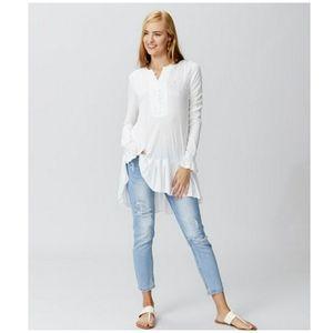 FREE PEOPLE NWT Your Girl Ruffle Tunic Dress White
